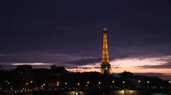 Time-lapse of the famous city of Paris at night in France. Stock Footage