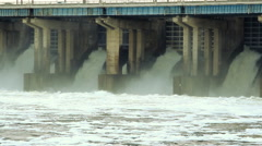 Stock Video Footage of Reset of water at hydroelectric power station on the river