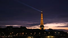 The famous city of Paris at night in France. - stock footage