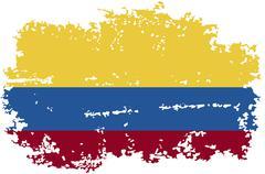 Colombia grunge flag. Vector illustration. - stock illustration