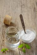 Homemade mouthwash made from peppermint and baking soda Stock Photos