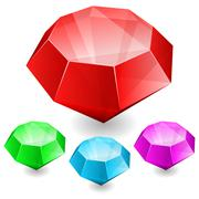 Stock Illustration of Set of gems in different color