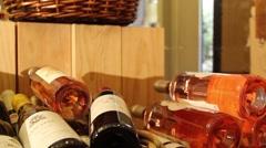 Panorama wine bottles Stock Footage
