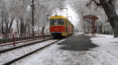 Modern tram in the city Stock Footage