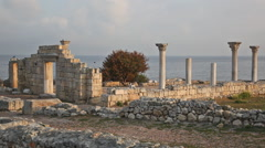 Colonnade in ruins of Ancient Greek city of Chersonese  in morning, Sevastopol Stock Footage