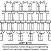 Vector illustration of line design arch structure - stock illustration