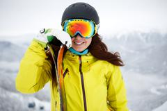 Ski, skier, winter - Closeup of smiling skier woman Stock Photos