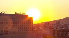 Barcelona Sants Station Sunset Time Lapse (Close Up) Stock Footage