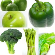 green healthy food collage collection - stock photo