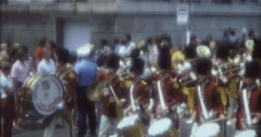 Stock Video Footage of New York Street Parade  70s 1974 16mm Brass Band