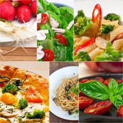 healthy vegetarian vegan food collage - stock photo