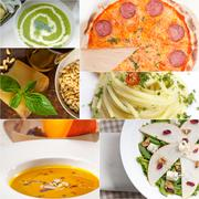 Healthy and tasty italian food collage Stock Photos