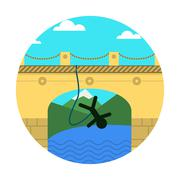 Flat vector icon for extreme sport. Rope jumping. Stock Illustration