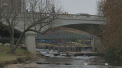 Reedy River downtown Greenville pan Stock Footage