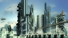 Science fiction skyline architecture Stock Footage