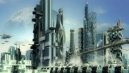 Stock Video Footage of Science fiction skyline architecture