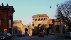 Bologna, Italy - January 1, 2015 Square Porta Saragossa. Stock Footage