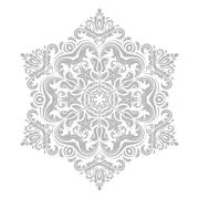 Damask Vector Pattern. Orient Grey Ornament - stock illustration