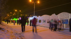 People walking at the exhibition of ice figures Stock Footage