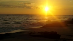 Pacific ocean sunset from the beach Stock Footage