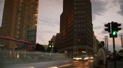Evening view of Potsdamer Platz in Berlin (Time Lapse) Stock Footage