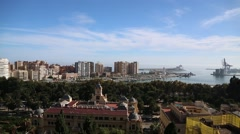 A view over the skyline of Malaga Stock Footage