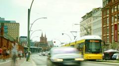 Speeding subway train incoming Oberbaumbruecke longest bridge of Berlin Stock Footage