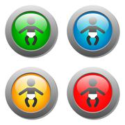 Baby icon set on glass buttons Stock Illustration