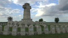 The Souain 28th Brigade National Cemetery Souain, Marne, France. Stock Footage