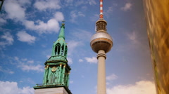 Fernsehturm (Television Tower) in Berlin, Germany, time lapse view, Stock Footage