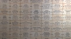 Memorial plaques in inside the Pyramid of the Ferme de Navarin, Souain, France. Stock Footage