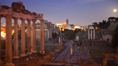 Time lapse of the Roman Forum in Rome Italy at night Stock Footage