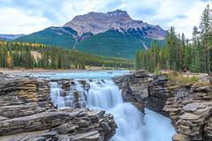 Athabasca River Falls - stock photo
