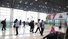 The new lounge of the Gru Airport in Sao Paulo, Brazil. Stock Footage
