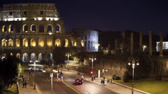Night  time lapse of the Roman Colosseum in Rome Italy Stock Footage
