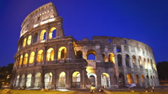 Day to night time lapse of the Roman Colosseum in Rome Italy Stock Footage