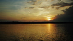 Sunset sky and clouds on the volga river Stock Footage