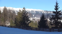 Beautiful winter view from a ski resort. Mountain landscape. Stock Footage