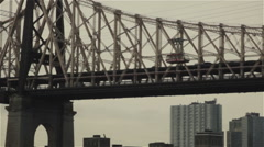Cable Car on New York City Queensboro Bridge Stock Footage