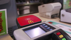 Paying with Google Wallet and Android Smart Phone - stock footage