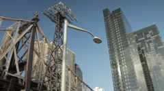 Spin around Street Lamp in City Stock Footage