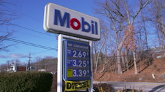 Gas Prices at Mobil Gas Station - stock footage