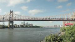 New York Queensboro Bridge and East River on a Sunny Day Stock Footage