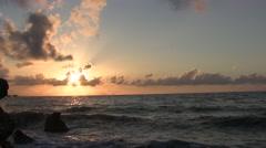 Sunset in Sicilian sea Stock Footage