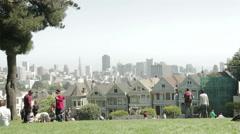 San Francisco Painted Ladies Park Stock Footage