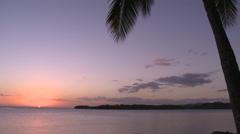 Fiji, Viti Levu, Orange Sky WS Palm silo in Foreground Stock Footage