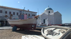 Fishing Boat in Mykonos Harbour, Greece - Out of Water. Not graded. Stock Footage
