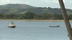 Fiji, Viti Levu, Nayawa Village, Hills, Moored Boats Stock Footage