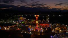 AERIAL: Shinning Luna park at sunset Stock Footage