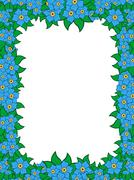 frame with blue flowers - stock illustration